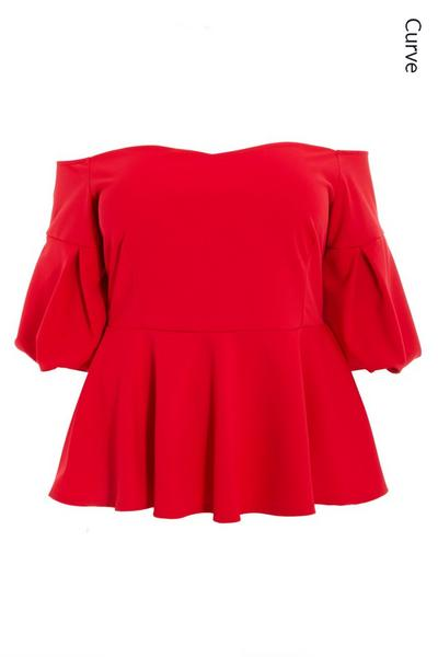 Curve Red Puff Sleeve Bardot Top